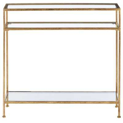 Bella Aged Gold Narrow Glass Console Table - Home Depot