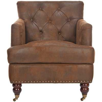 Colin Distressed Brown Leather Arm Chair, Brown/Cherry Mahogany - Home Depot