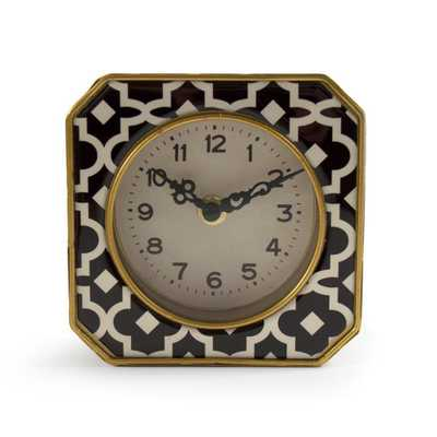 Zentique Black and White Pattern with Gold Trimmed Rounded Square Table Clock, Black/White pattern - Home Depot