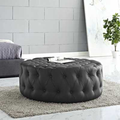 Button-Tufted Faux Leather Upholstered Round Ottoman Coffee Table in Black - eBay