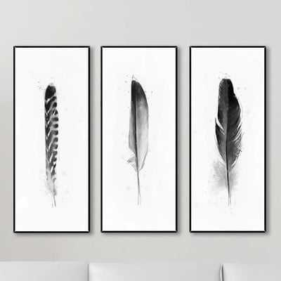 'Feathers' 3 Piece Framed Graphic Art Set - AllModern