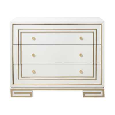 Home Meridian Modern Style White with Champagne Gold Overlay Accent Drawer Chest - Home Depot