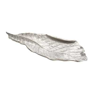 Silver Leaf 24 in. x 10 in. x 2 in. Aluminum Decorative Tray in Silver Finish - Home Depot