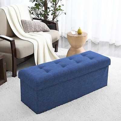 Winston Porter Calleja Upholstered Storage Ottoman: Navy - eBay