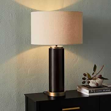 Pillar Table Lamp USB, Natural Linen, Antique Bronze - West Elm