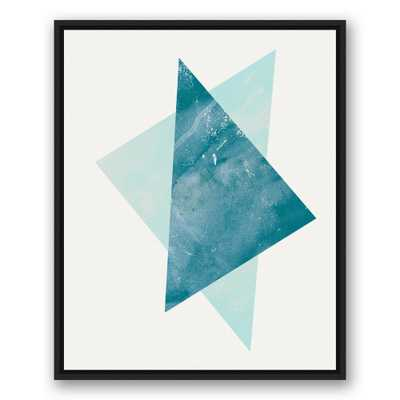 24 in. x 30 in. ''Blue Abstract Triangles'' Printed Framed Canvas Wall Art - Home Depot
