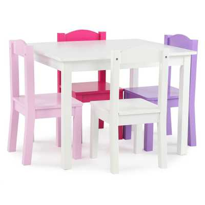 Friends 5-Piece White/Pink/Purple Kids Table and Chair Set - Home Depot