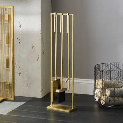 3-Piece Bend Gold Standing Fireplace Tool Set - CB2
