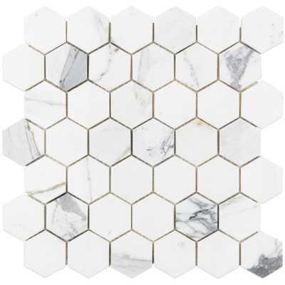 Splashback Tile Hexagon Calacatta Marble Mosaic - 3 in. x 6 in. x 10 mm Tile Sample, White/Gray - Home Depot