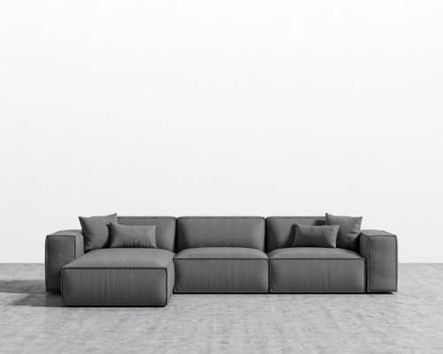 Porter Sectional - Fin Black Plastic Right-hand-facing - Rove Concepts