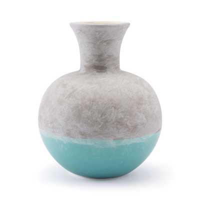 ZUO Gray and Teal Azte Medium Decorative Vase, Gray & Teal - Home Depot