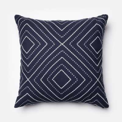"""PILLOWS - NAVY / WHITE - 22"""" X 22"""" Cover Only - Loma Threads"""
