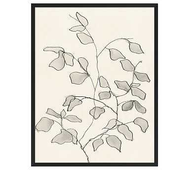 "Charcoal Leaves Framed Print, 26 x 32"" - Pottery Barn"