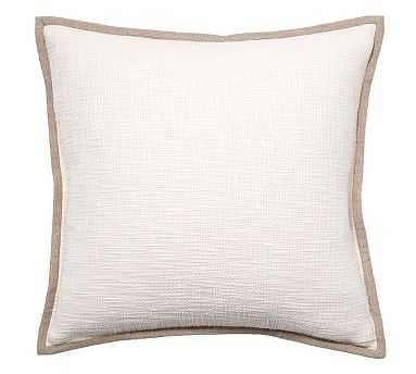 """Cotton Basketweave Pillow Cover, 20"""", Ivory - Pottery Barn"""