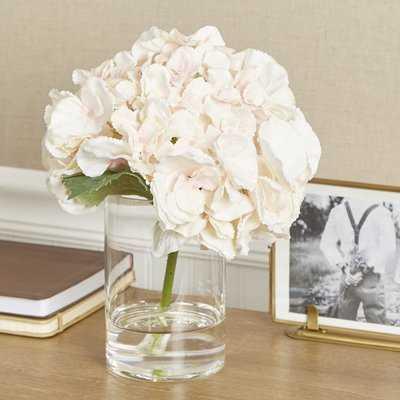 Faux Pink Hydrangea in Glass Vase - Birch Lane