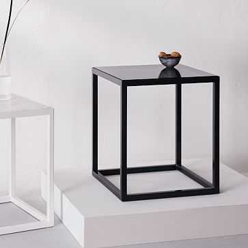 """Pieces Square Side Table, Gray Glass/Slate, 14""""x 14"""" - West Elm"""