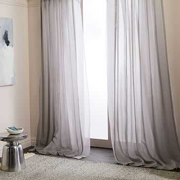 "Solid Open Weave Sheer Curtains, Set of 2, Frost Gray, 48""x84"" - West Elm"