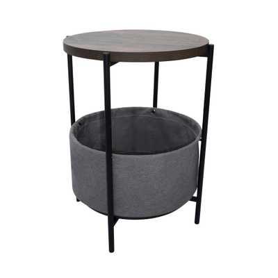 Nathan James Oraa Nutmeg and Black Metal Frame Side Table with Storage Basket, Brown/Black - Home Depot