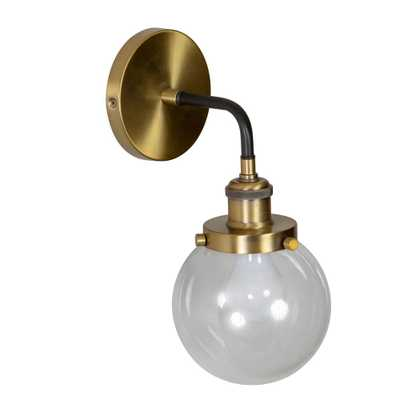 Decor Therapy Samuel 10 in. Brass Sconce - Home Depot