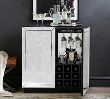 Leo Bar Cabinet, Antique Mirror - Pottery Barn