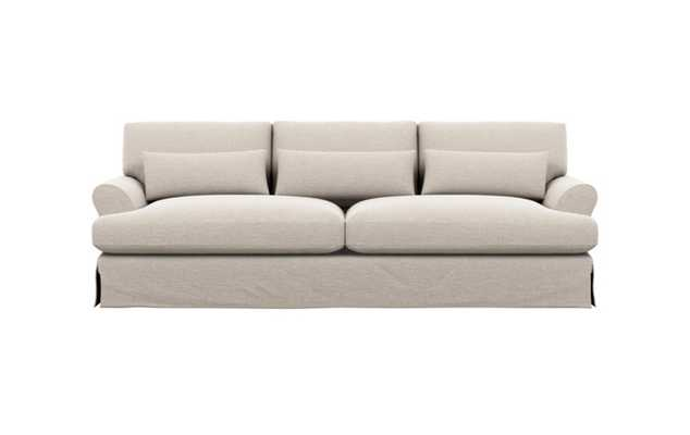 Maxwell Slipcovered Sofa with Linen Fabric and Matte Black with Brass Cap legs - Interior Define