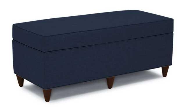 Blue Cammy Mid Century Modern Bench with Storage - Bentley Indigo - Mocha - Joybird