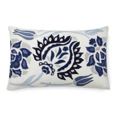 "Izlara Floral Applique Lumbar Pillow Cover, 14"" X 22"", Blue - Williams Sonoma"