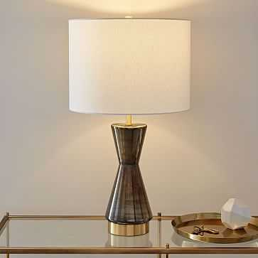 Metalized Glass Table Lamp + USB, Large, Gray-Individual - West Elm