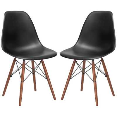 Poly and Bark Vortex Black Side Chair Walnut Legs (Set of 2), Black/Brown - Home Depot