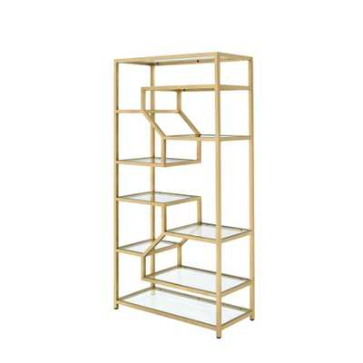 Lecanga Cube Clear Glass and Gold Bookcase - Home Depot