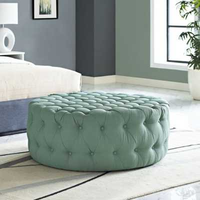 Button-Tufted Fabric Upholstered Round Ottoman Coffee Table in Laguna - eBay