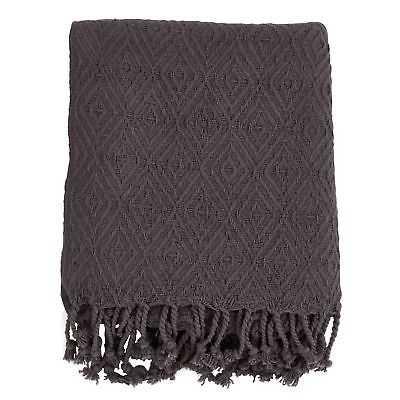 Diamond Weave Tassel Throw Blanket - eBay