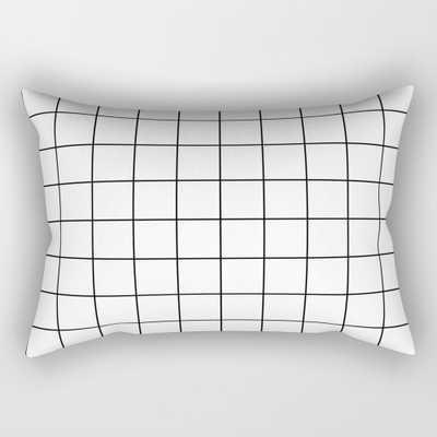 "Grid Simple Line White Minimalistic Rectangular Pillow - Small (17"" x 12"") - Society6"