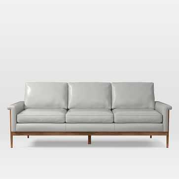 Leon 3 Seater Sofa, Parc Leather, Cement - West Elm