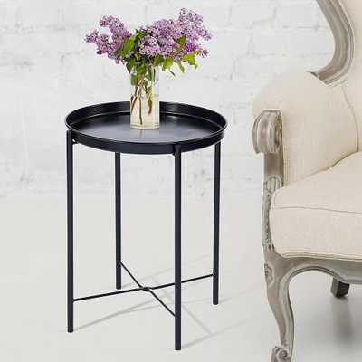 CAP LIVING Black Metal Round End Table with Removable Tray (Set of 2) - Home Depot