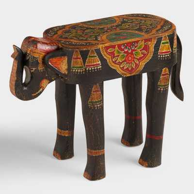 Hand Painted Wood Elephant Accent Table: Gray by World Market - World Market/Cost Plus