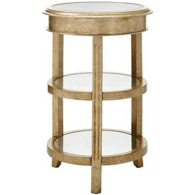 Bevel Mirror Gold Round Accent Table - Home Depot