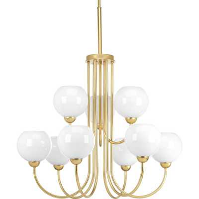 Progress Lighting Carisa Collection 9-Light Vintage Gold Chandelier with Shade - Home Depot