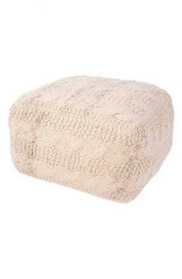 Jaipur Wool Cable Knit Pouf, Size One Size - Beige - Nordstrom