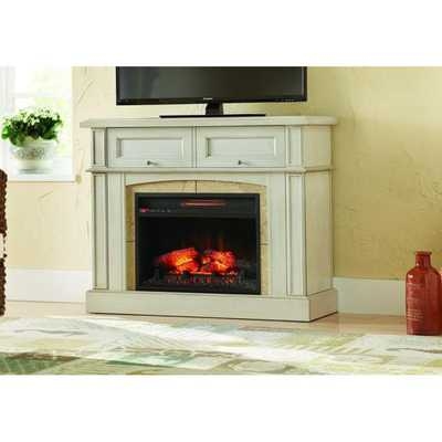 Bellevue Park 42 in. Mantel Console Infrared Electric Fireplace in Antique White Finish - Home Depot