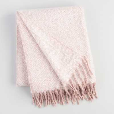 Blush Pink Herringbone Chenille Throw Blanket by World Market - World Market/Cost Plus