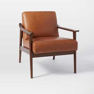Midcentury Show Wood Leather Chair, Saddle/Espresso, White Glove - West Elm