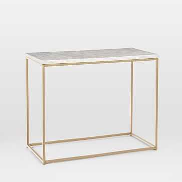 Streamline Side Table, Marble, Light Bronze - West Elm