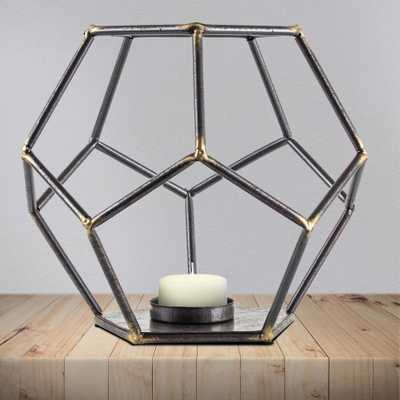 Geometric Hexagon Metal Candle Holder, Grays - Home Depot