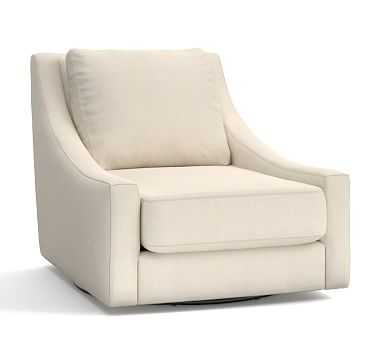 Aiden Upholstered Swivel Armchair, Polyester Wrapped Cushions, Sunbrella(R) Performance Sahara Weave Ivory - Pottery Barn