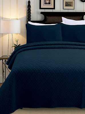 Melange Home 3 Piece Quilt Set: Full/Queen - Indigo - eBay