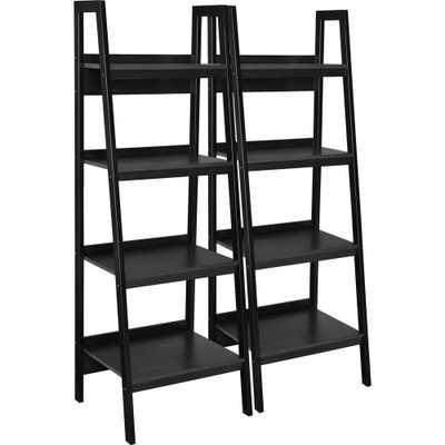 Ritter Black 4-Shelf Ladder Bookcase Bundle (Set of 2) - Home Depot