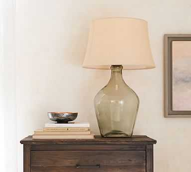 Clift Glass Oversized Table Lamp, Large Base with X-Large Tapered Drum Burlap Shade, Bleached - Pottery Barn