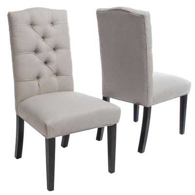 Berlin Natural Fabric Tufted Dining Chairs (Set of 2) - Home Depot