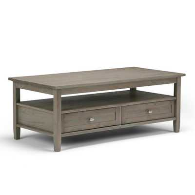 Warm Shaker Distressed Grey Built-In Media Storage Coffee Table - Home Depot